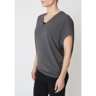 Grey marl, bamboo yoga top from Asquith.