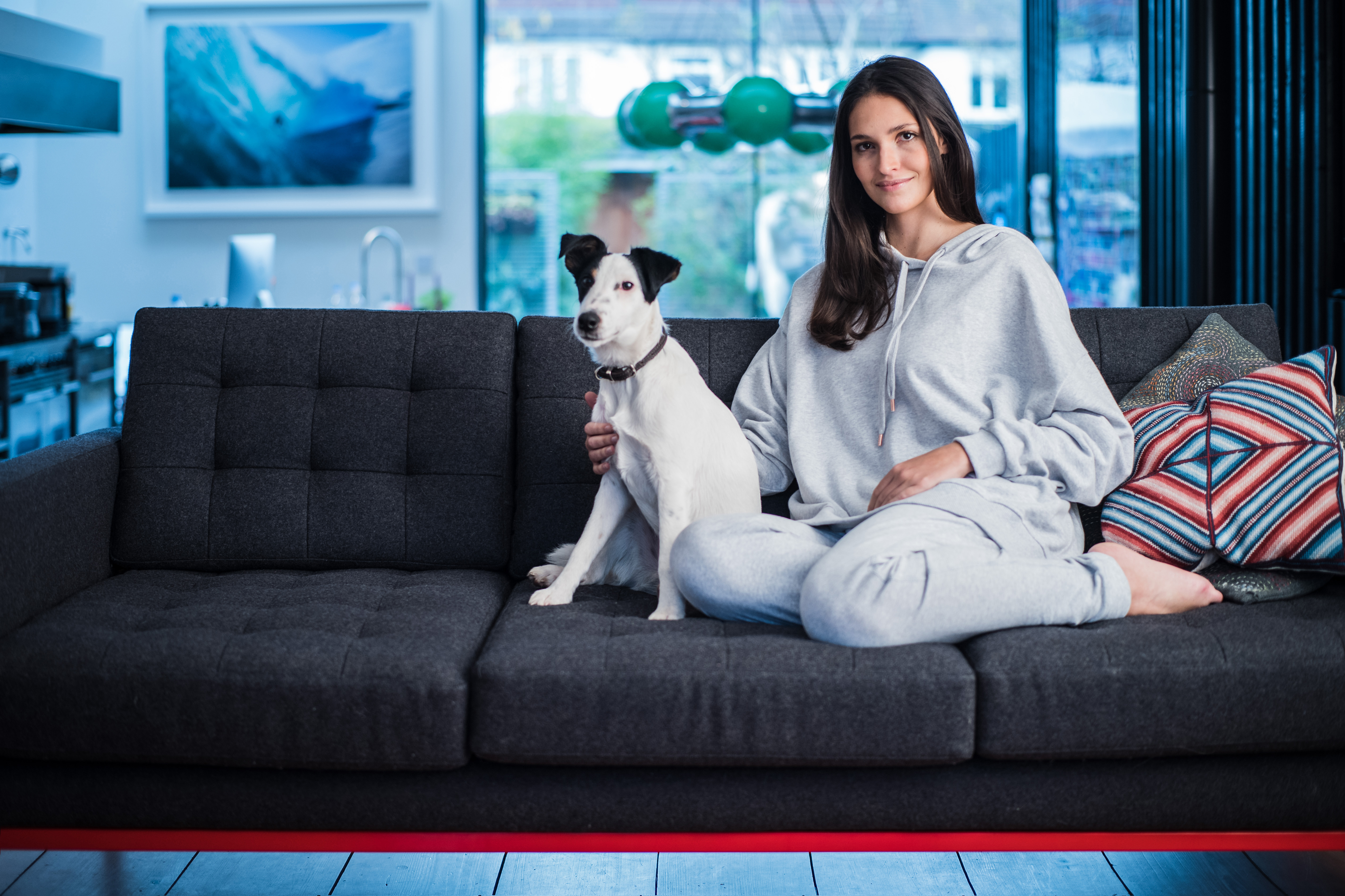 Organic Activewear Asquith on sofa with dog