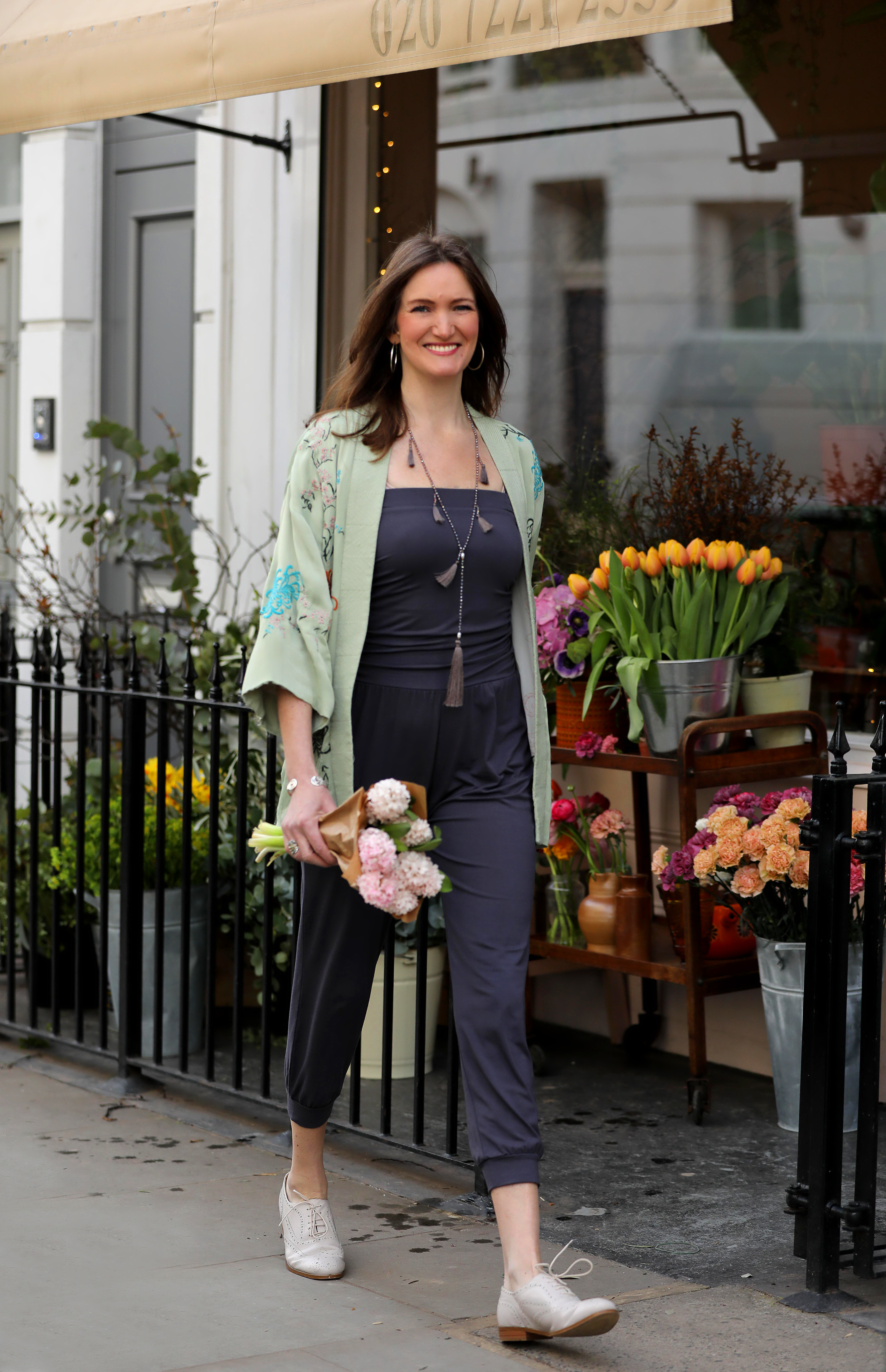 Alice Asquith wearing Asquith organic yoga clothes