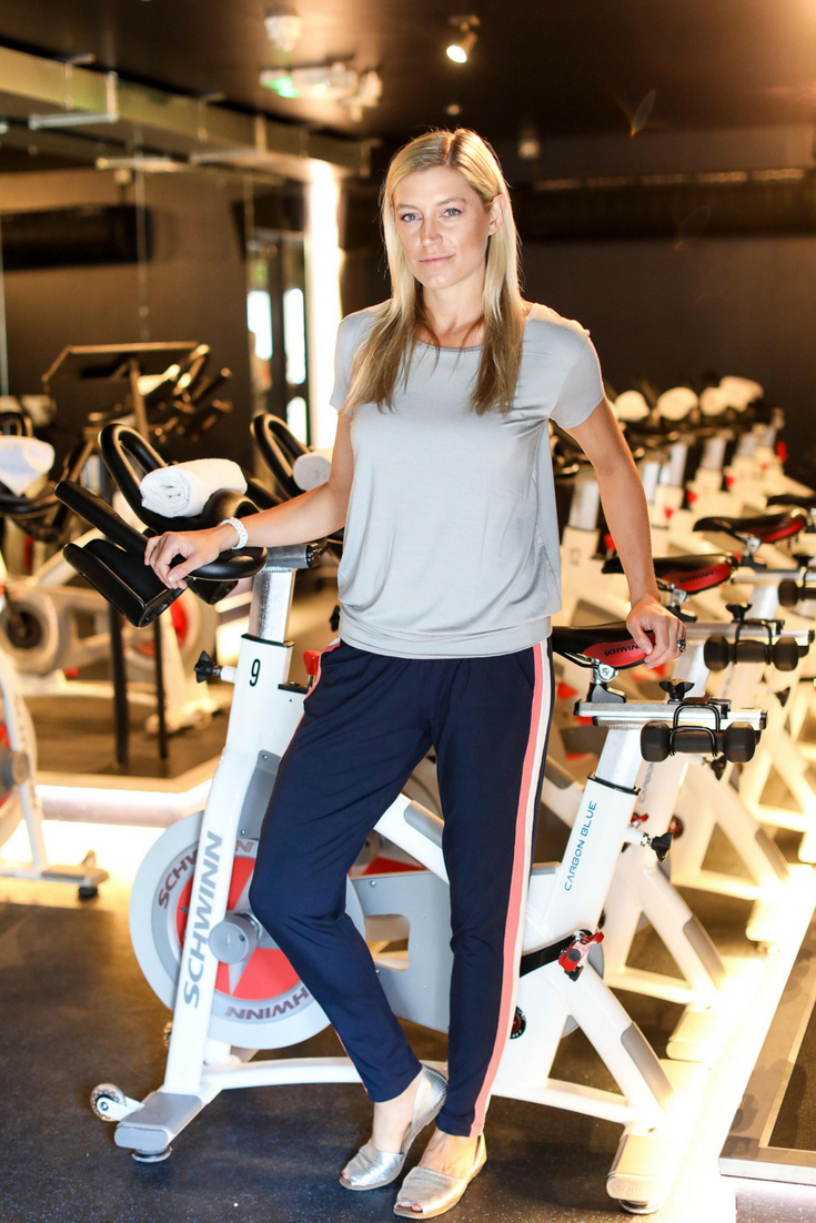 Hilary Rowland Co-Founder of Boom Cycle wearing Asquith organic yoga clothes