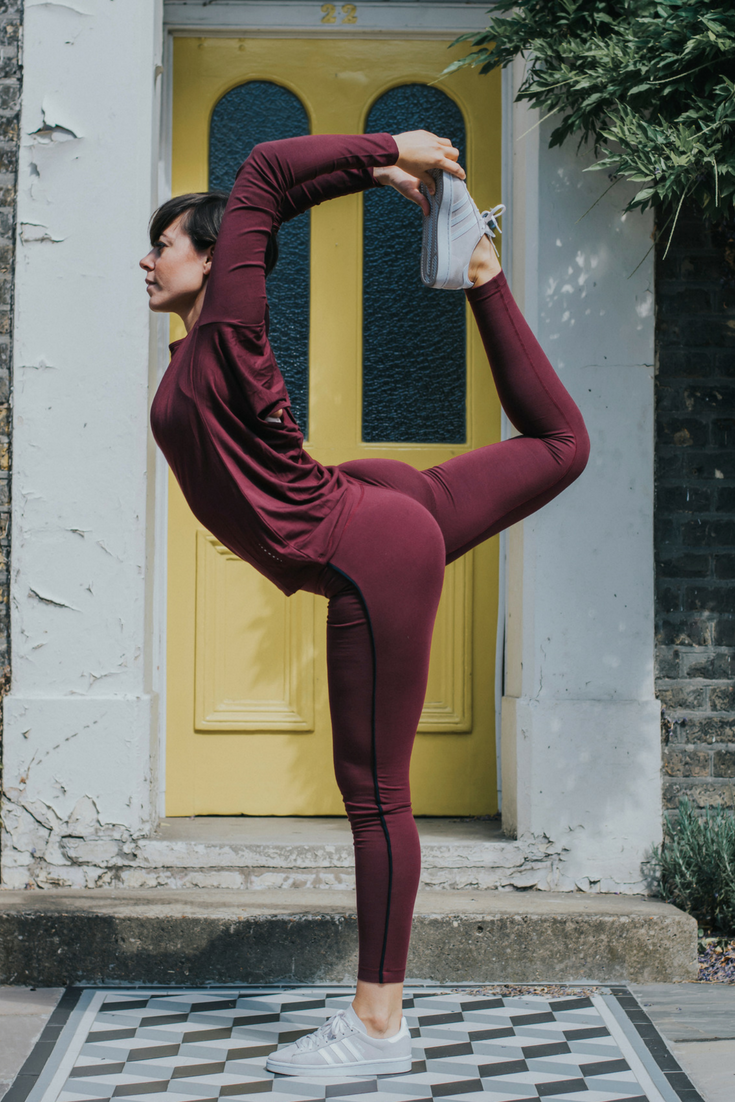 Anna De Sousa in Asquith bamboo yoga pants and other yoga clothing.
