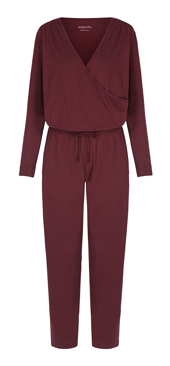 Asquith bamboo jumpsuit in Claret.